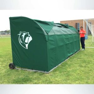 Model #SW1000. Forest Green Economy Team Sideline Shelter with Wind Flaps and Logo. Back View.