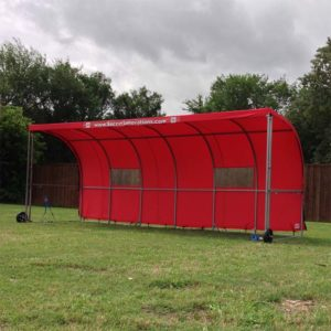 Model #SW1000. Red Economy Team Shelter with Side Panels Zipped Off.