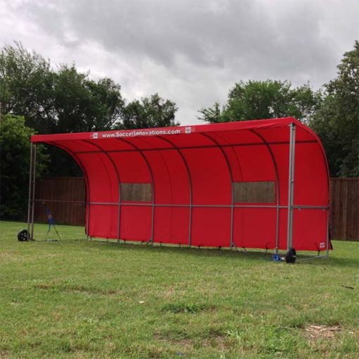 Model #SW1000. Red Economy Team Model #SW1000. Red economy team shelter with side panels zipped off.