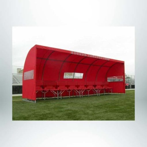 Model #SW1000. Red economy team shelter with windows.