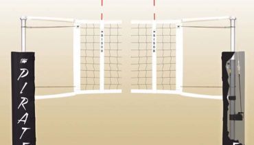 Model #VB1000XX. Bison centerline elite aluminum volleyball telescoping system. Includes pole pad.