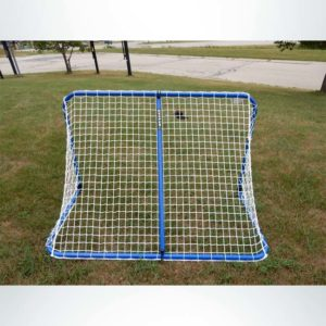 Model #ALUM53. 5'x3' Folding Aluminum Soccer Goal. Blue with White Net. Back of Goal.