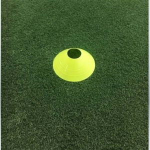 """Model #DCYELLOW. Yellow disc cone. 7"""" wide. For soccer field marking."""