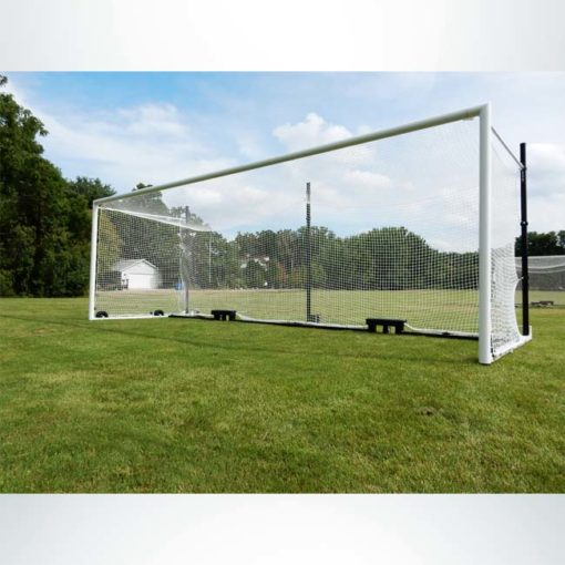 Model #MS88WRD4. Wheeled Stadium Cup soccer goal. 3 back-up posts. All caster wheels built into base of soccer goal.