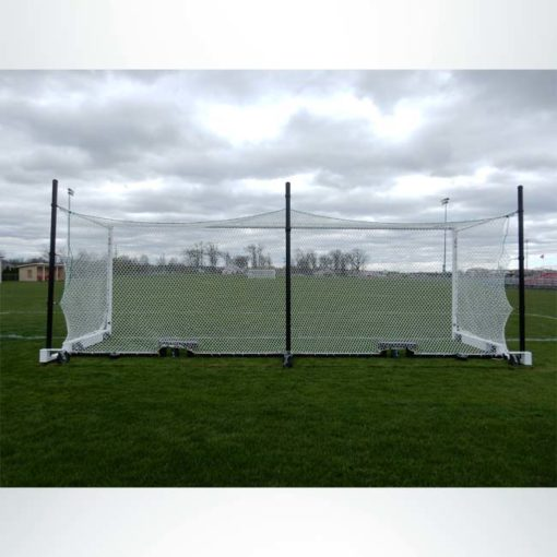 Model #MS88WRD4. Wheeled Stadium Cup soccer goal. 3 back-up posts. Caster wheels built into base of soccer goal make it easy to move. Back view of net.