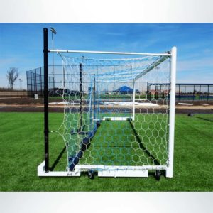 Model #MS88WRD4. Side View of Wheeled Stadium Cup Soccer Goal. 3 Back Up Posts. All Caster Wheels Built into Base of Soccer Goal. Blue and White Net.