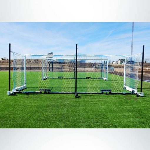 Model #MS88WRD4. Wheeled Stadium Cup soccer goal. 3 back-up posts. Caster wheels make it easy to move. Back side of blue and white net.