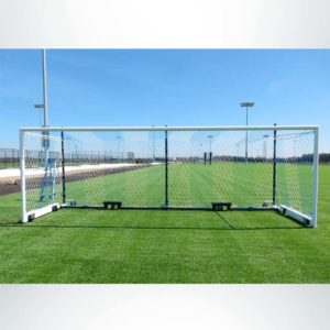 Model #MS88WRD4. Wheeled Stadium Cup Soccer Goal. 3 Back Up Posts. Caster Wheels Make it Easy to Move.