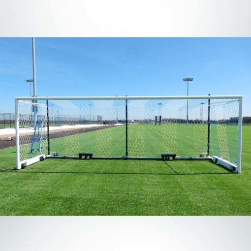Model #MS88WRD4. Wheeled Stadium Cup soccer goal. 3 back-up posts. Caster wheels make it easy to move.