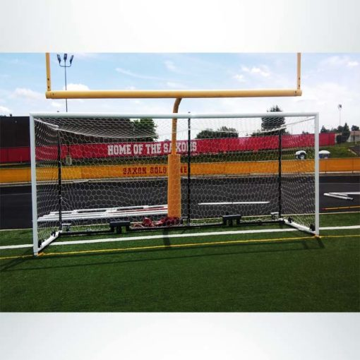 Model #MS88WRD4. Wheeled Stadium Cup soccer goal. 3 back-up posts. In front of football goal.