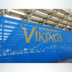 Bleacher Wrap in Royal Blue with Vikings Logo.