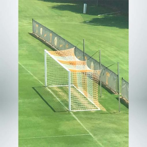 Orange and white striped soccer nets on box style Stadium Cup soccer goals.