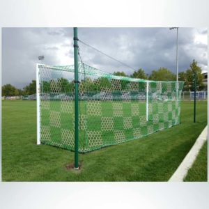 Model #ECONS80. Economy Stadium Cup soccer goal. Green and white checkered nets. Custom painted green back-up posts.