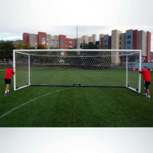 Model #M88WRD4824BOX66. Stadium Box Style Wheeled Soccer Goal. Being Moved by Two People.