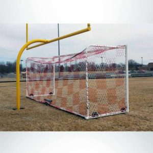 Model #M88WRD4824BOX66. Box style wheeled soccer goals with red and white hex mesh net under football goalpost.