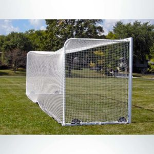Model #M88WRD4824BOX66. Stadium Box Style Wheeled Soccer Goal. Side View.