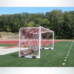 Model #M88WRD4824BOX66AC. Stadium box style soccer goal with all caster wheels. Red and white checkered hex mesh net.