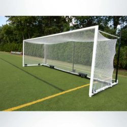 Model #MS88WRD4824BOX66. Wheeled box style soccer goal with backstays. Front view.