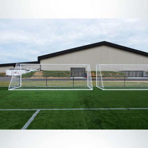 """Model #MSGC3RD824. 3"""" round aluminum soccer goal. Back view."""