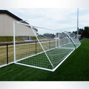 Model #MSGC3RD824. 3 Inch Round Aluminum Soccer Goal. Back View.
