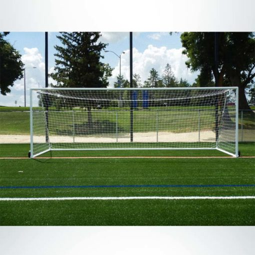 """Model #MSGC3RD824. 3"""" round aluminum soccer goal with optional wheels. Front view."""