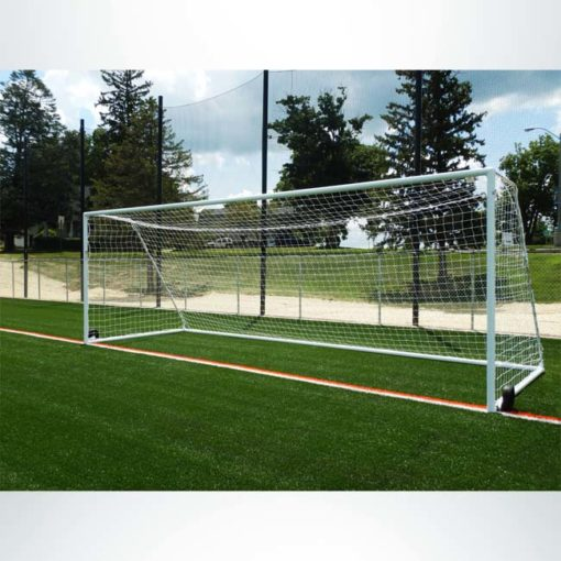"Model #MSGC3RD824. 3"" round aluminum soccer goal with optional wheels. Front view."