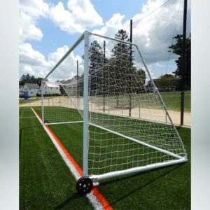 "Model #MSGC3RD824. 3"" round aluminum soccer goal with optional wheels. Side view."