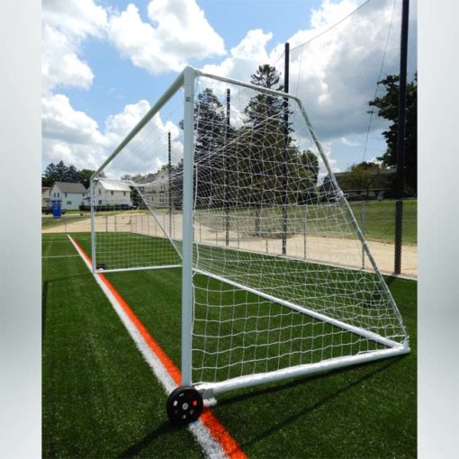 """Model #MSGC3RD824. 3"""" round aluminum soccer goal with optional wheels. Side view."""