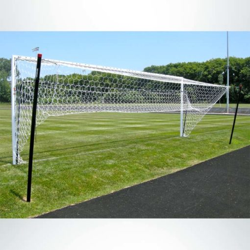 Model #NSBS80. Net storage bar for Stadium Cup soccer goals to raise net for mowing. Back view.