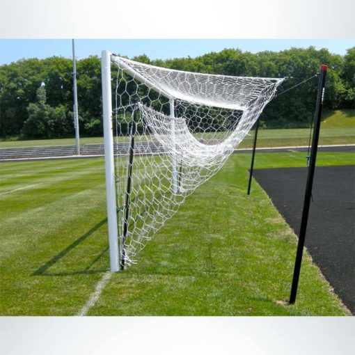 Model #NSBS80. Net storage bar for Stadium Cup soccer goals to raise net for mowing. Side view.