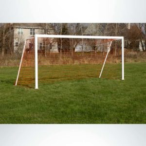 Model #P66186ABP. Semi-Permanent Soccer Goal with Baseplate. 6ft 6in x 18ft 6in.