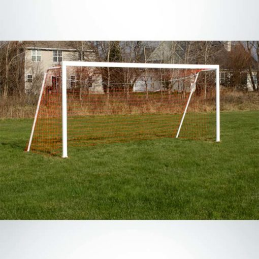 """Model #P66186ABP. Semi-permanent soccer goal with baseplate. 6'6"""" x 18'6""""."""