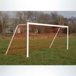 "Model #P66186ABP. Semi-permanent soccer goal with baseplate. 6'6"" x 18'6""."