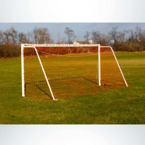 Model #P66186ABP. Semi-Permanent Soccer Goal with Baseplate. 6ft 6in x 18ft 6in. Back View.
