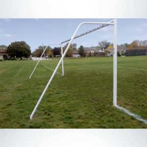 Model #P8244RDASL. Semi-Permanent Soccer Goal with American Style Backstay Sleeved into the Ground. Back View.