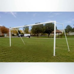 Model #P8244RDASL. Semi-Permanent Soccer Goal with American Style Backstay Sleeved into the Ground.