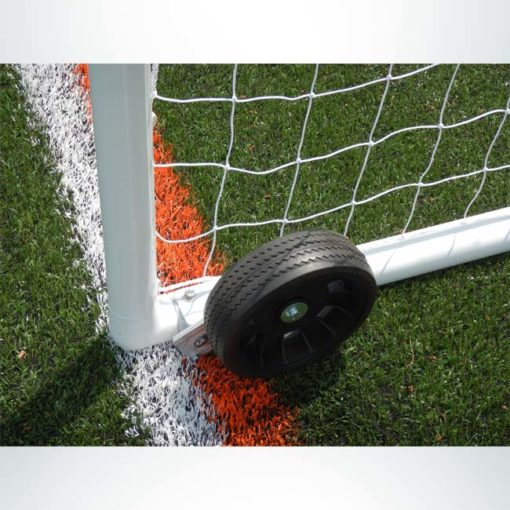 "Model #PW2. Wheels on model #MSGC3RD824. 3"" round aluminum soccer goal. Lowered side."