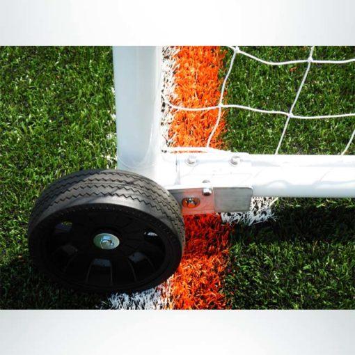 """Model #PW2. Wheels on model #MSGC3RD824. 3"""" round aluminum soccer goal. Raised side."""