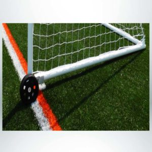 "Model #PW2 or Model #PW4. Wheel kit on model #MSGC3RD824. 3"" round aluminum soccer goal. Wheel raised to move goal."