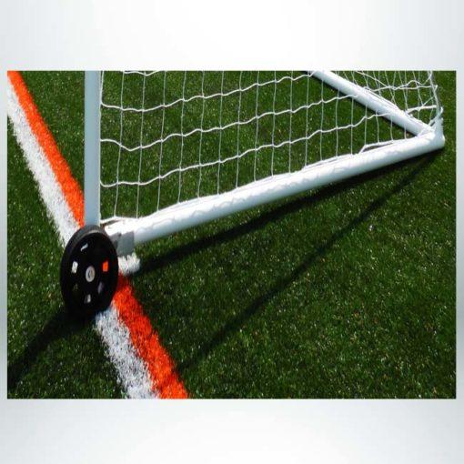 """Model #PW2 or Model #PW4. Wheel kit on model #MSGC3RD824. 3"""" round aluminum soccer goal. Wheel raised to move goal."""