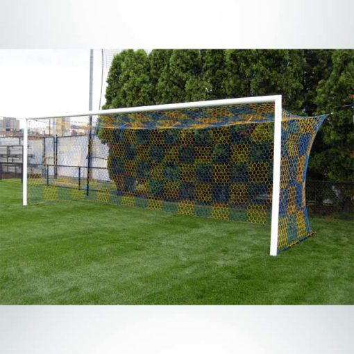 Model #S80. Stadium Cup soccer goal. Blue and gold checkered net.
