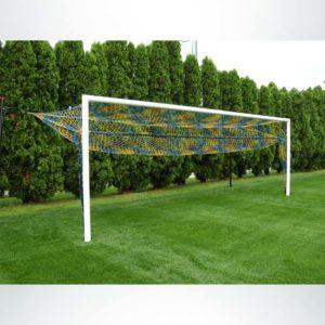 Model #S80. Stadium Cup semi-permanent box-style soccer goal. Net hinge bar to raise net.