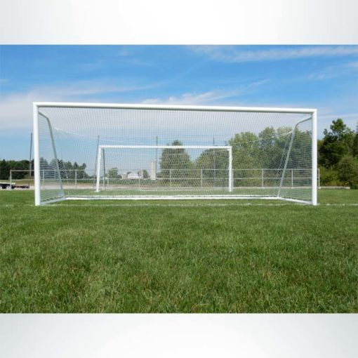 "Model #ELITE4RD66186. Elite Soccer goal. 6'6"" x 18'6""."