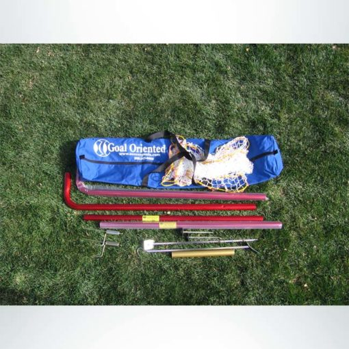 Model #IA46. 4' x 6' portable interactive soccer goal disassembled.