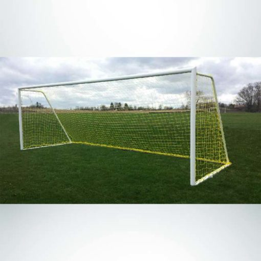 Model #M83824RD4. 8' x 24' M-Series movable steel heavy duty soccer goal with yellow net.