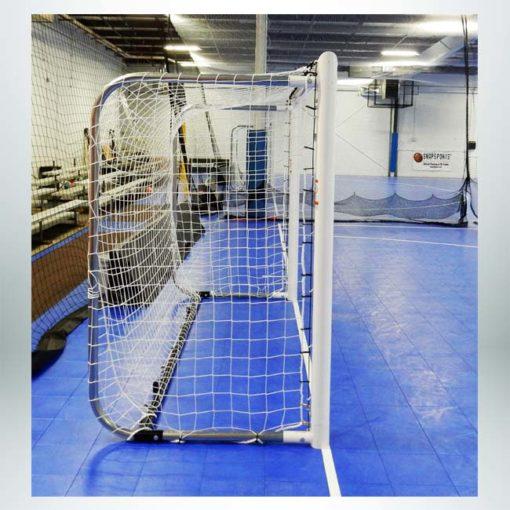 "Model #MALFUTSAL6710. 4"" round aluminum futsal goal."
