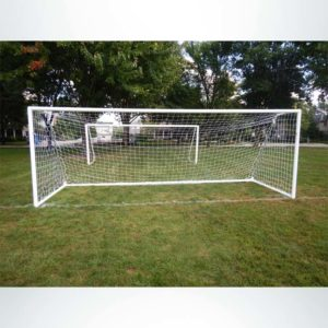 "Model #MSGC66186. 6'6"" x 18'6"" 3"" round aluminum soccer goal with channel net attachment."