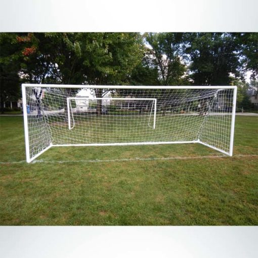 """Model #MSGC66186. 6'6"""" x 18'6"""" 3"""" round aluminum soccer goal with channel net attachment."""