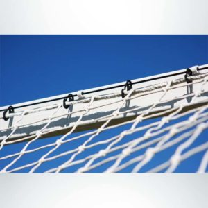 Model #P824AC. Semi-permanent 8' x 24' regulation soccer goal American style. Cable net attachment.