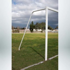 Model #P824AC. Semi-permanent 8' x 24' regulation soccer goal American style. No net.